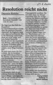 Resolution reicht nicht - DZ Leserbrief von Georg Liesert