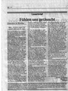 DZ Leserbrief von Sabine Bußmann -Fühlen uns getäuscht-