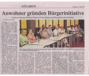 DZ Artikel vom 05.07.10 -Anwohner gründen Bürgerinitiative-