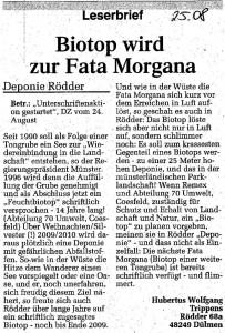 Leserbrief von Hubertus Wolfgang Trippens in der DZ vom 25.08.10